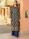 Navy Blue Printed Slub Khaddar Shirt