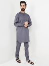 Dark Grey Cotton Kurta Trouser Suit