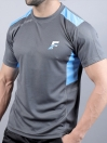 FIREOX Grey & Sky Blue Polyester  Active Fit T-Shirt for Men
