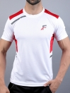 FIREOX  White & Red Polyester Active Fit T-Shirt for Men