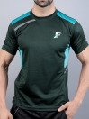 FIREOX Green & Teal Polyester Active Fit T-Shirt & Shorts for Men