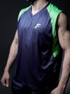 FIREOX  Blue & Parrot Green Polyester Active Fit Training Tank Top for Men