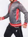 FIREOX  Grey & Red Polyester Active-wear Hoodie for Men