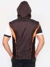 FIREOX  Black & Orange Polyester Sleeveless Windbreaker Hoodie for Men