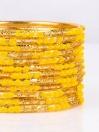 Yellow Embedded Velvet Aluminium Bangles (12 Pieces Set )
