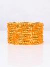 Orange Embedded Velvet Aluminium Bangles (12 Pieces Set )