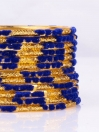 Blue Embedded Velvet Aluminium Bangles (12 Pieces Set )