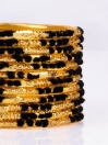 Black Embedded Velvet Aluminium Bangles (12 Pieces Set )
