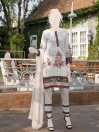 Off White & Maroon Embroidered Lawn 3 Piece Suit For Women