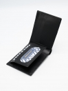 Black Cow Leather Printed Wallet for Men