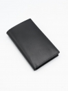 Black Cow Leather Long Wallet for Men