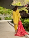 Tuscany Yellow Embroidered & Digital Print Unstitched 3 Piece Suit for Women