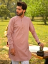 Crepe Pink Cotton Kurta for Men