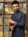 Denim Blue Cotton Suit for Men