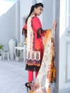 Red Embroidered & Digital Print Unstitched 3 Piece Suit for Women