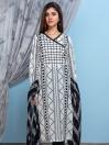White & Black Digital Print Unstitched 2 Piece Suit for Women