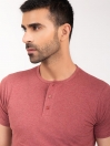 Coral Melange Henley Half Sleeve T-shirt for Men