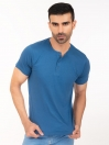 Teal Henley Half Sleeve T-shirt for Men