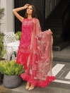 Burgundy Embroidered  Unstitched 3 Piece Suit for Women