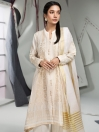 Off White Jacquard 2 Piece Unstitched Suit for Women