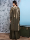 Olive Green Jacquard Unstitched Shirt for Women