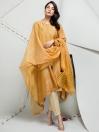 Mustard Jacquard 2 Piece Unstitched Suit for Women