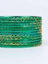Green Ornate Aluminium Bangles for Women