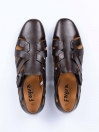 Coffee Brown Leather Casual Roman Sandal For Men