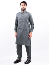 Men Charcoal Straight Kurta Pajama