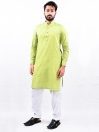 Men Green Straight Kurta With White Pajama