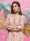 Tea Pink Printed Jacquard Unstitched 3 Piece Suit for Women