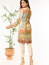 Grey Printed Stitched Lawn Shirt for Women