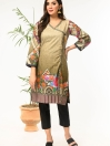 Taupe Printed Stitched Lawn Shirt for Women