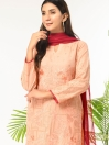 Peach Embroidered Stitched 3 Piece Cotton Suit for Women