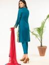Blue Embroidered Stitched 3 Piece Cotton Suit for Women
