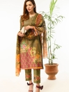 Coffee Brown Digital printed Stitched 3 Piece Lawn Suit for Women