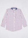 Boys Brown & White Check Sleeve Woven Shirt
