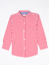 Boys Pink & White Check Sleeve Woven Shirt