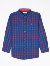 Boys Blue & Red Check Sleeve Woven Shirt