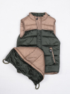 Beige & Green Kids sleeveless Puffer Jacket With Hood