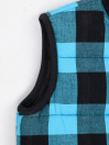 Mint Blue & Black Check sleeveless Kids Jacket