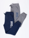Little Boys Grey/Navy Blue Terry Slim Joggers pack of 2
