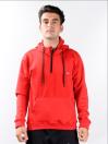 Men's Red Sporty Quarter-Zip hooded Sweatshirt