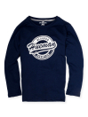 Little Boys Navy Blue Full Sleeves T-Shirt