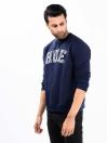 Men Navy Blue Fleece Sweatshirt