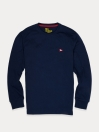 Men Navy Blue Terry Solid Full Sleeves T-Shirt