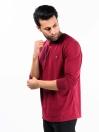 Men Burgundy Terry Solid Full Sleeves T-Shirt