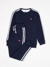 Big Boy Navy Blue Stripe Fleece Crew Sweatsuit