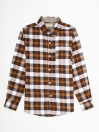Boys White & Brown Plaid Full Sleeve Flannel Shirt