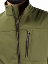 Olive Stand Up Collar Soft Shell Men's Jacket